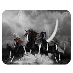 Awesome Wild Black Horses Running In The Night Double Sided Flano Blanket (medium)  by FantasyWorld7