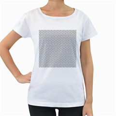 Seamless Pattern Monochrome Repeat Women s Loose Fit T Shirt (white)