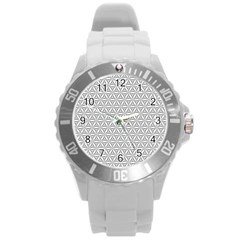 Seamless Pattern Monochrome Repeat Round Plastic Sport Watch (l) by Nexatart