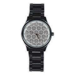 Cube Pattern Cube Seamless Repeat Stainless Steel Round Watch