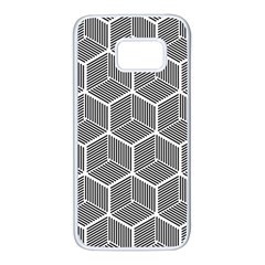 Cube Pattern Cube Seamless Repeat Samsung Galaxy S7 White Seamless Case by Nexatart