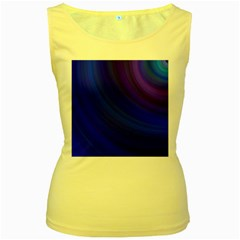 Blue Background Abstract Blue Women s Yellow Tank Top
