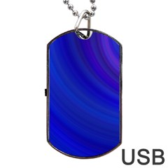 Blue Background Abstract Blue Dog Tag Usb Flash (one Side)