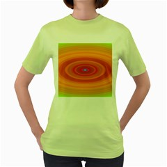 Ellipse Background Orange Oval Women s Green T Shirt
