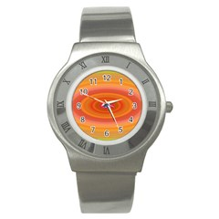 Ellipse Background Orange Oval Stainless Steel Watch