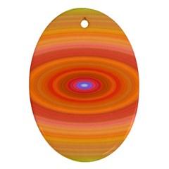Ellipse Background Orange Oval Oval Ornament (two Sides)