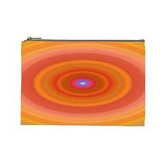 Ellipse Background Orange Oval Cosmetic Bag (large)