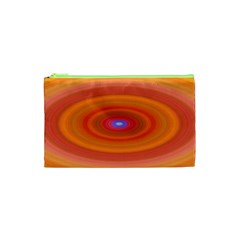 Ellipse Background Orange Oval Cosmetic Bag (xs)