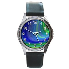 Space Design Abstract Sky Storm Round Metal Watch by Nexatart