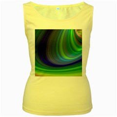 Space Design Abstract Sky Storm Women s Yellow Tank Top