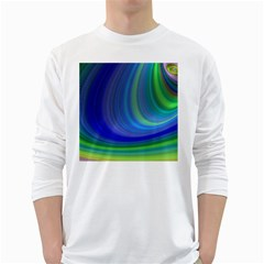 Space Design Abstract Sky Storm White Long Sleeve T Shirts