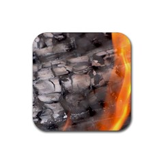Fireplace Flame Burn Firewood Rubber Square Coaster (4 Pack)