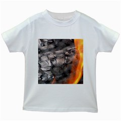 Fireplace Flame Burn Firewood Kids White T Shirts