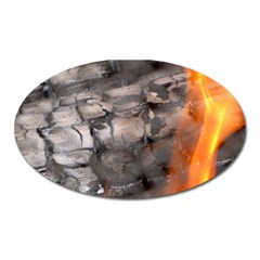 Fireplace Flame Burn Firewood Oval Magnet