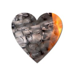 Fireplace Flame Burn Firewood Heart Magnet