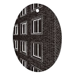 Graphics House Brick Brick Wall Oval Ornament (two Sides)