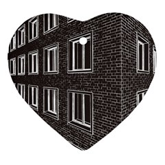Graphics House Brick Brick Wall Heart Ornament (two Sides)