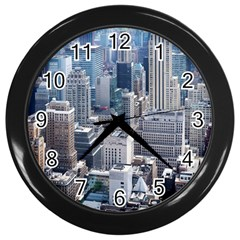 Manhattan New York City Wall Clocks (black) by Nexatart