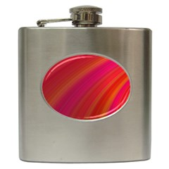 Abstract Red Background Fractal Hip Flask (6 Oz)