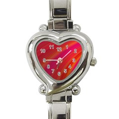Abstract Red Background Fractal Heart Italian Charm Watch by Nexatart