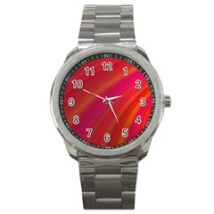 Abstract Red Background Fractal Sport Metal Watch