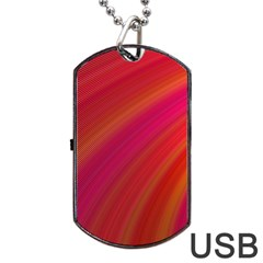 Abstract Red Background Fractal Dog Tag Usb Flash (one Side)