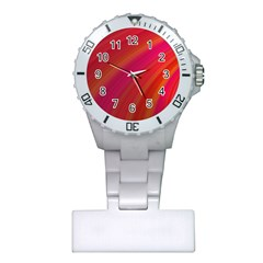Abstract Red Background Fractal Plastic Nurses Watch