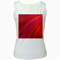 Abstract Red Background Fractal Women s White Tank Top
