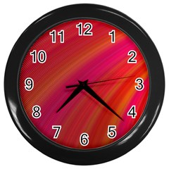 Abstract Red Background Fractal Wall Clocks (black)
