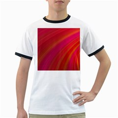 Abstract Red Background Fractal Ringer T Shirts
