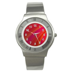 Abstract Red Background Fractal Stainless Steel Watch by Nexatart