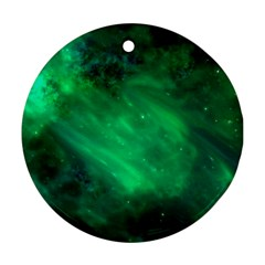 Green Space All Universe Cosmos Galaxy Ornament (round)