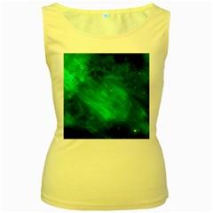 Green Space All Universe Cosmos Galaxy Women s Yellow Tank Top