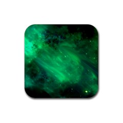 Green Space All Universe Cosmos Galaxy Rubber Square Coaster (4 Pack)  by Nexatart