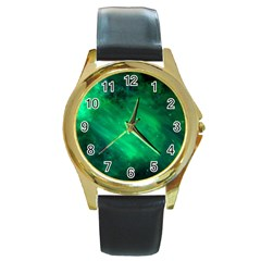 Green Space All Universe Cosmos Galaxy Round Gold Metal Watch