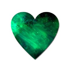 Green Space All Universe Cosmos Galaxy Heart Magnet by Nexatart