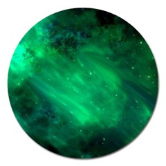 Green Space All Universe Cosmos Galaxy Magnet 5  (round) by Nexatart