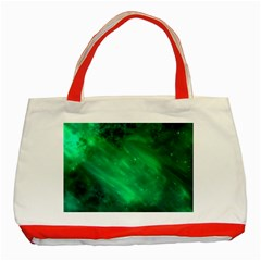 Green Space All Universe Cosmos Galaxy Classic Tote Bag (red) by Nexatart