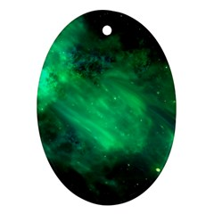 Green Space All Universe Cosmos Galaxy Oval Ornament (two Sides)