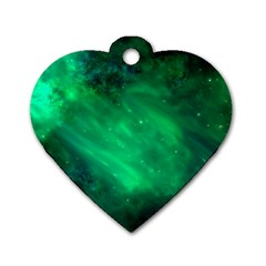 Green Space All Universe Cosmos Galaxy Dog Tag Heart (one Side)