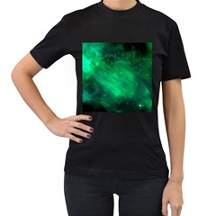 Green Space All Universe Cosmos Galaxy Women s T Shirt (black)