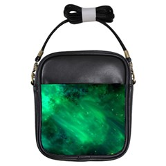 Green Space All Universe Cosmos Galaxy Girls Sling Bags by Nexatart