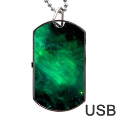 Green Space All Universe Cosmos Galaxy Dog Tag Usb Flash (one Side) by Nexatart