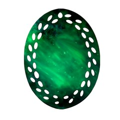 Green Space All Universe Cosmos Galaxy Oval Filigree Ornament (two Sides) by Nexatart