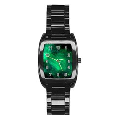 Green Space All Universe Cosmos Galaxy Stainless Steel Barrel Watch