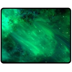 Green Space All Universe Cosmos Galaxy Double Sided Fleece Blanket (medium)