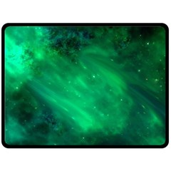 Green Space All Universe Cosmos Galaxy Double Sided Fleece Blanket (large)