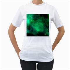 Green Space All Universe Cosmos Galaxy Women s T Shirt (white)
