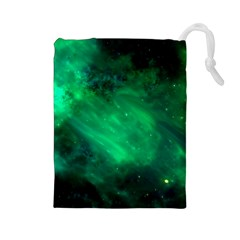 Green Space All Universe Cosmos Galaxy Drawstring Pouches (large)