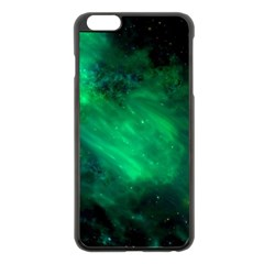 Green Space All Universe Cosmos Galaxy Apple Iphone 6 Plus/6s Plus Black Enamel Case
